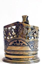 Винтажный серебряный с чернью и позолотой подстаканник пр-ва СССР (70е